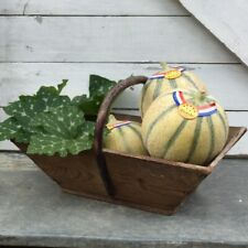 FABULOUS Timeworn ANTIQUE VTG FRENCH Country Farm BASKET Hazelwood Handle PANIER