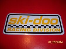 "4"" X 8"" ski-doo Racing Division (NEW Vinyl White,Yellow and Black Sticker)..L@@K"