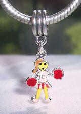 Cheerleader Girl Pink Red Enamel Cheer Sports Dangle Charm for European Bracelet