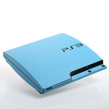 AZZURRO CARBONIO PS3 SLIM CON TEXTURE pelle-Full Body Wrap-Decalcomania Adesivo Cover