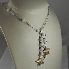 .925 RHODIUM SILVER NECKLACE, WHITE AGATE, SCARF, 2 YELLOW PLATED SILVER STARS.