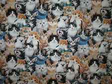 CATS REAL KITTY CAT COLORS COTTON FABRIC FQ