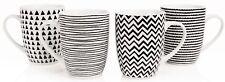 Sabichi Geo Sketch Black & White 4 Piece Mug Set Porcelain Tea Coffee Mugs Cups