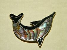Awesome Abalone & 925 Sterling Silver Dolphin Fish Brooch Pin
