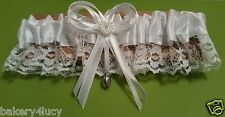 NEW BRIDAL TOSS GARTER SATIN & LACE WHITE PEARL RHINESTONE CHARM NFL FOOTBALL