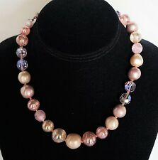 Vintage De Mario Choker Necklace ~ Faux Pearl & Faceted Crystal Beads ~ Signed