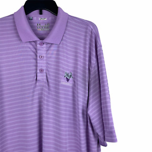 Under Armour Men's Heat Gear Purple Striped Polo Loose Large TALL S/SGolf