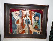 VTG RUTH FAKTOR CERAMIC ART POTTERY LG RELIEF PAINTING TILE OF MUSICIANS SIGNED