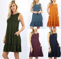 Women's Basic Sleeveless Solid Round Neck Ruffle Hem Soft Tank Dress S-3X Plus