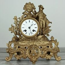 Antique c.1865 Japy Freres Cast Metal Figural Striking French Clock