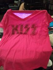 Kiss - Pink Glitter Logo Ladies Xl Shirt