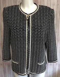 ST JOHN COLLECTION BY MARIE GREY Womens Knitted Black Cream Zip Jacket Size M L
