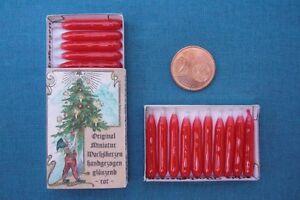 ECHTE handgezogene MINIATUR - WACHSKERZEN rot Sort BBB -  mit DEKO - Schachtel
