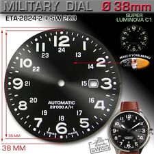 DIAL BLACK MILITARY, 12/24-H, ETA 2824-2, and SW 200, SUPER LUMINOVA, Ø 38 mm