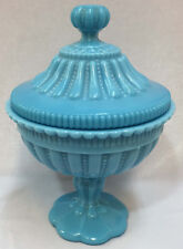 Vallerysthal Blue Glass Compote Candy Dish Covered Lid Hobnail Scalloped Vintage