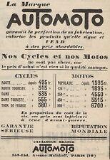 Y8050 Moto & Bici AUTOMOTO - Listino Prezzi - Pubblicità d'epoca - 1928 Old ad