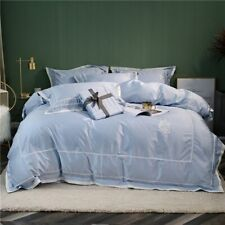 Egypt Cotton Classic Blue Bedding Set Embroidery Silky Duvet Cover Queen King