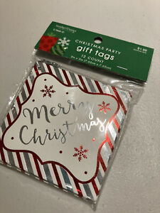 Christmas tags pack of 12 silver and red - brand new