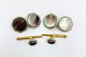 Larter and Sons 10k Yellow gold Platinum top mop Cufflinks button set