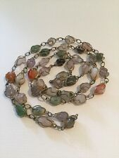 Vintage Assorted Polished Gem Stones Wire Wrapped Artisan Necklace
