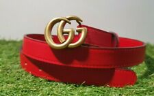 Gucci  red belt and golden tone buckle - skinny model
