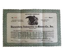 Duesenberg Automobile & Motors Co Inc  1921 Stock Certificate