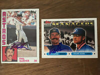 Phil Garner Autograph signed 1984 & 1993 Topps baseball cards Lot Astros Brewers