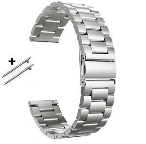 22 | 20 | 18mm Edelstahl Glieder-Uhrenarmband Silbern Metall massiv schnellwechs