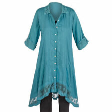 Women's Regular 100% Cotton Short Sleeve Sleeve Tunic Tops & Blouses