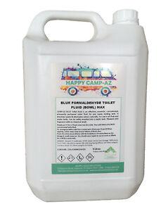 Happy Camp Blue Powerful Toilet Fluid Cleaner Flush Dissolves Waste & Odours- 5L