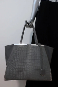 Fendi 3Jours Satchel Gray Croc-Embossed Calf Hair & Leather Extra Large Tote Bag