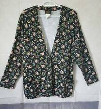 Beverly Hills Blues Womens Large Floral Black Cardigan Button Vintage 1980s
