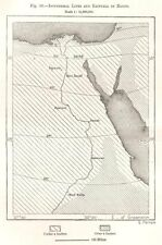 Isotérmico líneas y lluvia de Egipto. mapa del bosquejo 1885 Cuadro Antiguo Viejo