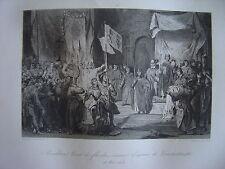 Grande gravure BAUDOUIN Comte Flandre couronné Empereur de Constantinople 1204
