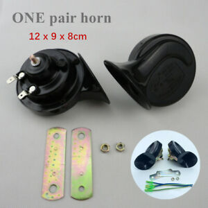 Pair Black Loud Dual-tone Snail Universal Electric Horn 12V 110 dB Car Truck SUV