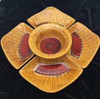 VTG Retro MCM California Pottery E 600 Marcia Chip Dip Veggie Tray Red Gold