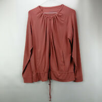 AnyBody Cozy Knit Zip-up Jacket with Drawstring Dark Blush XL     A310144