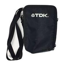TDK Cassette CD Soft Black Zippered Nylon Carrying Case Crossbody Bag Strap VTG