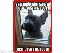 Funny Mad French Bull Dog Refrigerator / Tool Box  Magnet Gift Card Insert