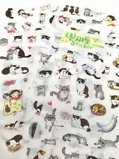 Kawaii Stickers Cat Kittens 6 Sheets Diary Journal Scrapbook Planner Supplies