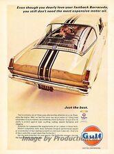 1967 Plymouth Barracuda Gulf Oil Original Advertisement Print Art Car Ad J856