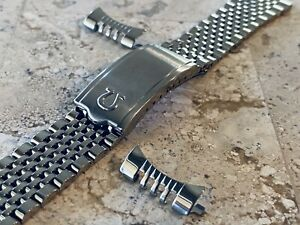 Omega Rice Bead 20mm Solid Stainless Steel Bracelet For Gents Watches End Links