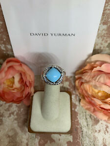 DAVID YURMAN STERLING SILVER 925 11MM TURQUOISE INFINITY RING SIZE 9