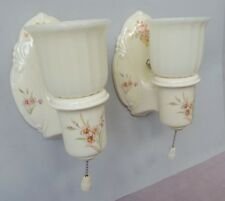 Pair of Vintage Porcelier Sconces, Clambroth Shades, rewired, good pull switches