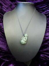 Antique Vintage carved Chinese Jade Monkey gourd Old Pendant necklace old