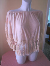 NWOT SURF GYPSY CROPPED OFF-THE-SHOULDER TOP WITH FRINGE Free Size (One Size)