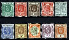More details for st lucia kg v 1921-30 die ii wmk mult script ca part set sg 91 to sg 103 mint
