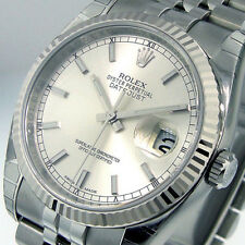 ROLEX 116234 DATEJUST 36 mm MENS STEEL JUBILEE BRACELET SILVER STICK DIAL