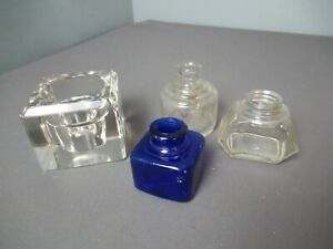 """4 Vintage Glass Inkwells - 1 Blue 2"""" sq - 3 Crystal Ass't Sizes - 34"""