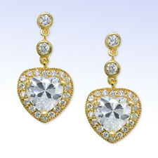 Cubic Zirconia Heart Drop Earrings Giani Bernini Gold Plated Sterling Silver